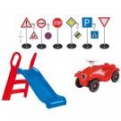 Kinderrutsche und Bobby Car + Verkehrsschilder